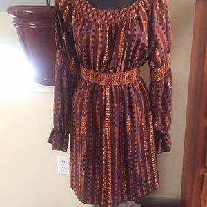 Dresses & Skirts - Brown, Orange, Mustard patterned Dress